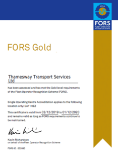 Thamesway Transport FORS Gold London